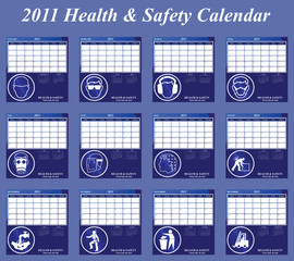 2011 Health and Safety calendar with page per month
