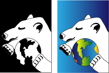 concept for Peace safety with polar bear and Earth ball