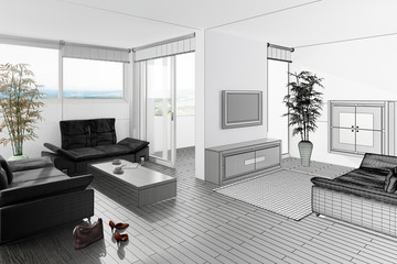 Contemporary Sitting Room (3d)