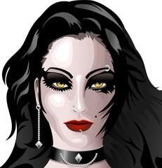 Ragazza Viso Moda Gotica-Gothic Fashion Girl's Face-2-Vector