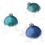 Blue christmas balls placed on fuzzy material poster