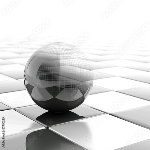 black metallic ball with visible wired structure
