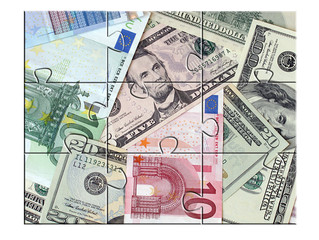 jigsaw puzzle Money (euro, usd) over white