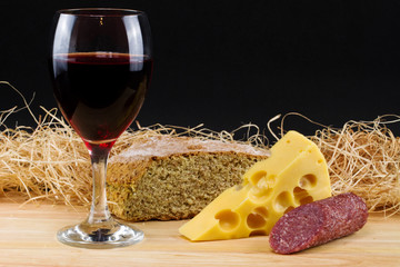Pink wine and cheese composition