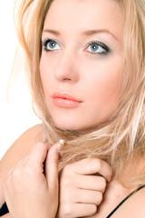 Closeup portrait of a lovely pretty blonde
