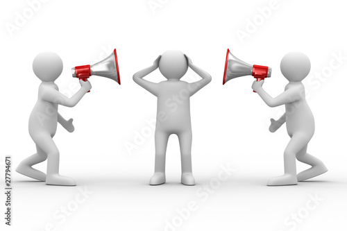 orator speaks in megaphone. Isolated 3D image