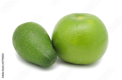 Oroblanco and avocado, isolated on white