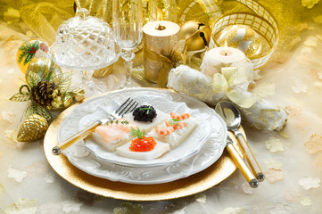 mix canape on christmas table-tartine miste tavola natalizia