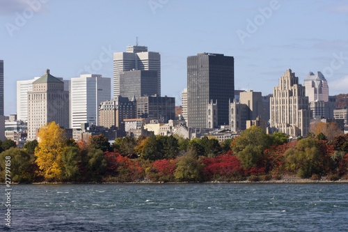 Nontreal and Saint Lawrence River in autumn
