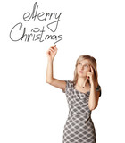 businesswoman writting Merry Christmas