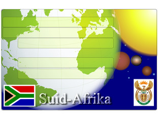 South Africa business card globe flag coat