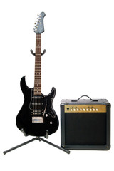 Electric guitar and amplifier isolated on a white background