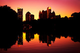 Sunset midtown reflection in Clara Meer Lake, Piedmont Park Atla