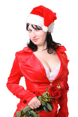 woman in a red suit and hat of Santa Claus with red roses