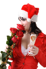 woman in a red suit and hat of Santa Claus with red roses and ch