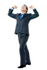 Happy successful gesturing businessman, isolated on white