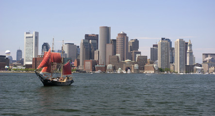 Boston skyline, Atlantic Ocean