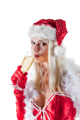 Mrs. Santa Claus drinking champagne