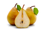 Yellow sliced pears with green leaf isolated
