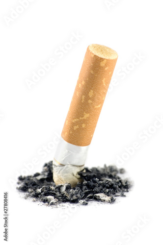 Cigarette Butt And Ash Macro, Isolated Closeup