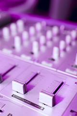 Sound mixer, violet tone, selective focus