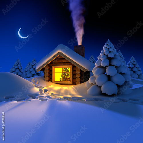 A small cottage in the fairy forest in snowy New Year's Eve
