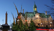 City Hall of Montreal and Christmas trees at night in winter