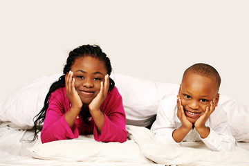 Happy kids listening to bedtime story