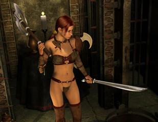 Kriegerin mit Schwert und Kriegsaxt