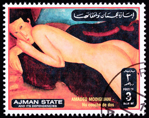 Ajman Stamp Painting Amadeo Modigliani Reclining Nude Woman