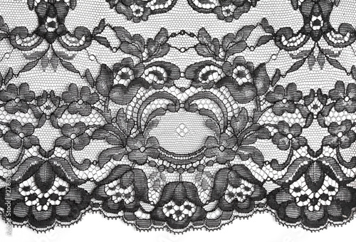 Black fine lace floral texture - 27815634