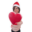 woman in Santa hat holding a heart