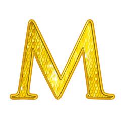 M - Alphabet Or avec écailles