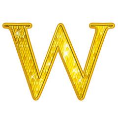 W - Alphabet Or avec écailles