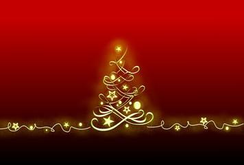 Weihnachtskarte rot, mit Baum