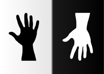 hands black and white up and down