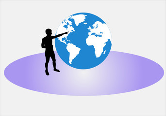 man pointing to the globe