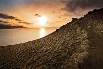 Hills and sun set