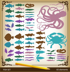 Vector set of fishes, octopus and crab in vintage style