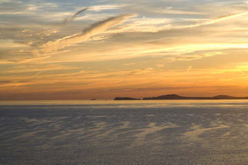 Sunset over St Brides Bay, St Davids , Ramsey island,