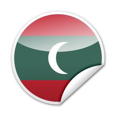 Pegatina bandera Maldivas con reborde