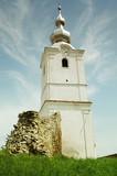 Christian church tower. Transylvania, Romania poster