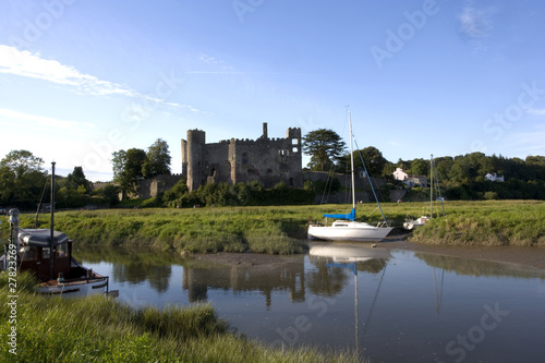 Laugharne Castle and the river Taf