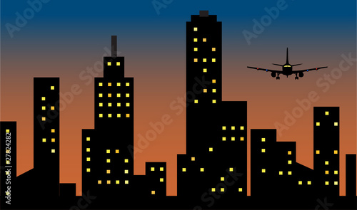 flight arrive over the city at sunrise