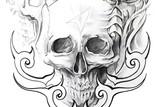 Tattoo art, sketch of a black skull - 27825077