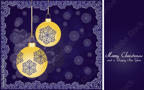 Christmas background with gold baubles and snowflakes