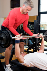 Body buidling exercise at gym