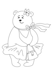 Teddy bear with handbag, contours