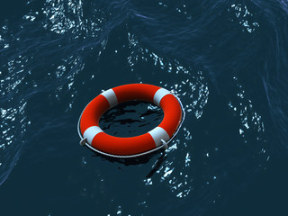 Render of lifebuoy swimming in waves