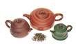 Chinese Clay Teapots With Some Dry Tea Leaves